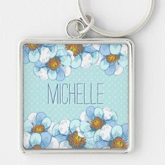 Estampado de flores azul delicado con las llaveros personalizados