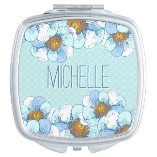 Estampado de flores azul delicado con las espejos de viaje