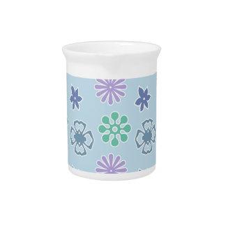 Estampado de flores azul, flores jarra