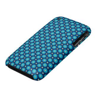 Estampado de flores azul iPhone 3 protectores
