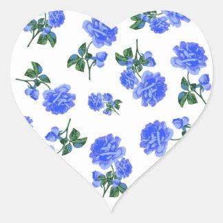 Estampado de flores azul marino de los rosas en pegatinas corazon