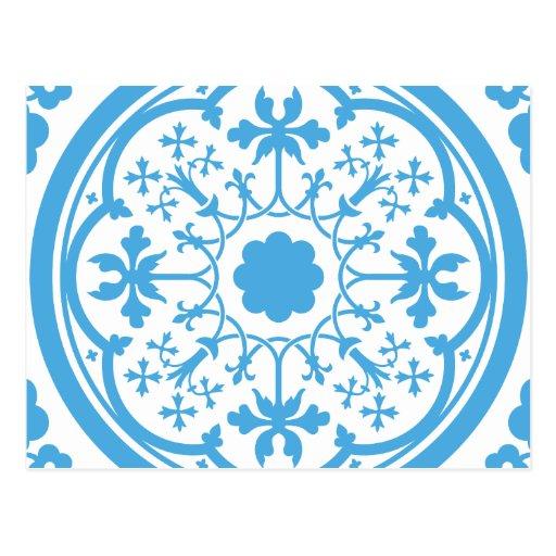 Estampado de flores azul postal