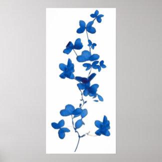 Estampado de flores azul póster