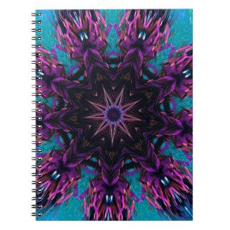 Estampado de flores azul púrpura de Kaleidescape Libro De Apuntes