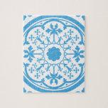 Estampado de flores azul puzzles con fotos