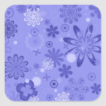 Estampado de flores azul romántico calcomanías cuadradass