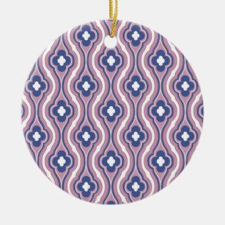 Estampado de flores azul rosado femenino ornaments para arbol de navidad