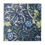 Estampado de flores azul tejas  ceramicas