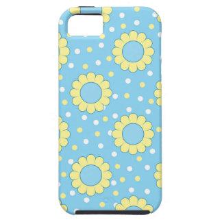 Estampado de flores azul y amarillo funda para iPhone 5 tough