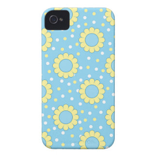 Estampado de flores azul y amarillo iPhone 4 Case-Mate protectores
