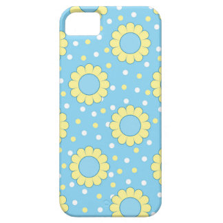Estampado de flores azul y amarillo iPhone 5 funda