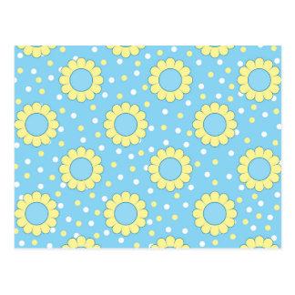 Estampado de flores azul y amarillo postal