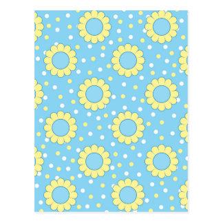 Estampado de flores azul y amarillo tarjetas postales