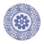 Estampado de flores azul y blanco de la granja del