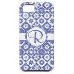 Estampado de flores azul y blanco del bonito del m iPhone 5 cobertura