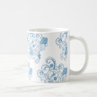 Estampado de flores azul y blanco del vintage tazas de café