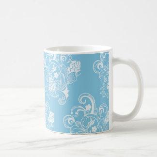 Estampado de flores azul y blanco del vintage tazas