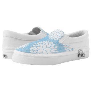 Estampado de flores azul y blanco zapatillas