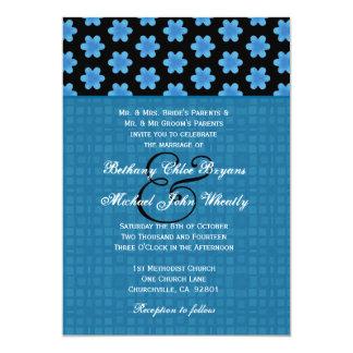Estampado de flores azul y negro que casa H638 Anuncio Personalizado