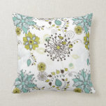 Estampado de flores azul y verde de la primavera almohadas