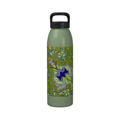 Estampado de flores azulverde del vintage clásico botella de agua