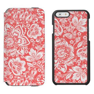 Estampado de flores barroco blanco y rojo coral funda billetera para iPhone 6 watson
