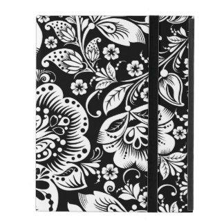 Estampado de flores blanco del vintage en negro