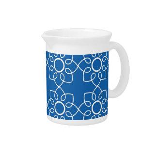 Estampado de flores blanco moderno en azul jarras para bebida