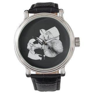 estampado de flores blanco negro del iris reloj de mano