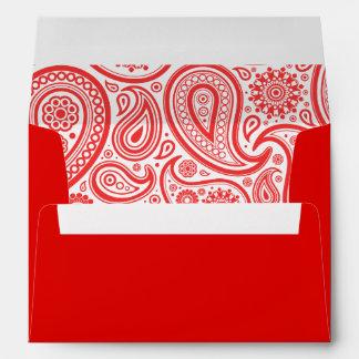 Estampado de flores blanco rojo de Paisley Sobres