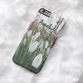 Estampado de flores blanco, snowdrops de la funda para iPhone 6 barely there