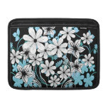 Estampado de flores blanco y negro azul claro boni funda  MacBook