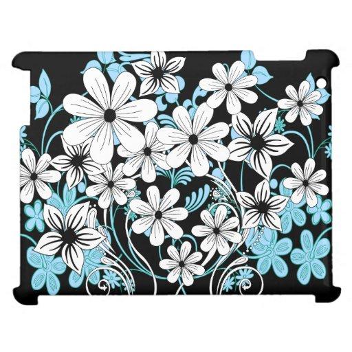 Estampado de flores blanco y negro azul moderno