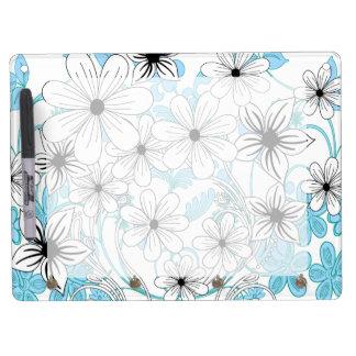 Estampado de flores blanco y negro azul retro pizarras blancas de calidad