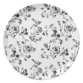Estampado de flores blanco y negro de los rosas plato de comida