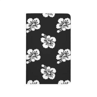 Estampado de flores blanco y negro del hibisco cuadernos