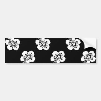 Estampado de flores blanco y negro del hibisco pegatina para auto