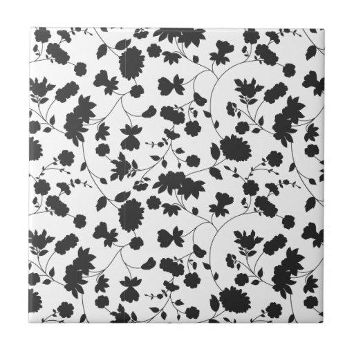 Estampado de flores blanco y negro del vector azulejo cuadrado pequeño