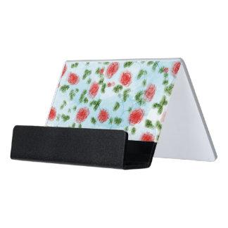 Estampado de flores bonito de los rosas rojos de caja de tarjetas de visita para escritorio