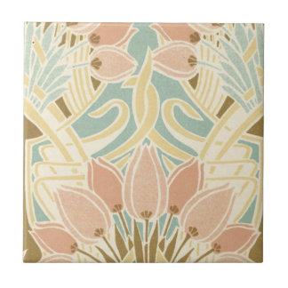 estampado de flores bonito del nouveau del arte de azulejo cuadrado pequeño