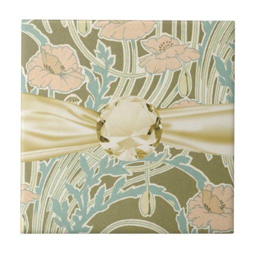 estampado de flores bonito del vintage del nouveau azulejo cuadrado pequeño