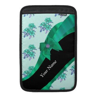 Estampado de flores bonito del vintage del verde fundas para macbook air