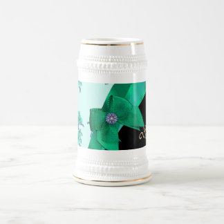 Estampado de flores bonito del vintage del verde jarra de cerveza