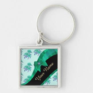 Estampado de flores bonito del vintage del verde llavero cuadrado plateado