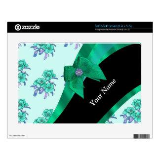 Estampado de flores bonito del vintage del verde netbook pequeño skin