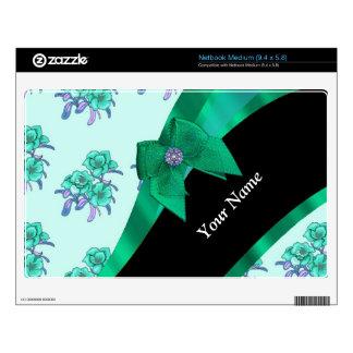 Estampado de flores bonito del vintage del verde netbook skin