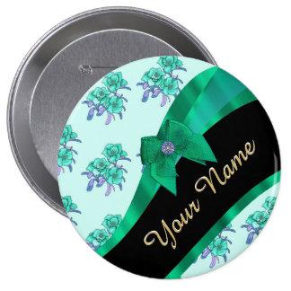 Estampado de flores bonito del vintage del verde chapa redonda 10 cm