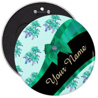 Estampado de flores bonito del vintage del verde chapa redonda 15 cm