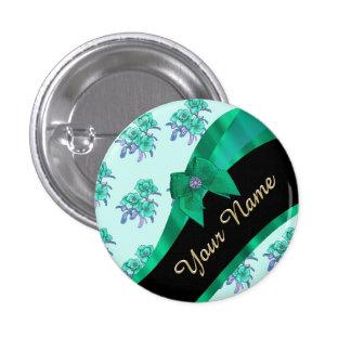 Estampado de flores bonito del vintage del verde chapa redonda 2,5 cm