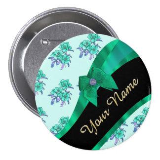 Estampado de flores bonito del vintage del verde chapa redonda 7 cm